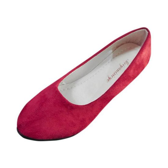 Femmes Femmes Slip On Chaussures plates Sandales Casual Ballerines Taillerouge Rouge Rouge - Achat / Vente slip-on