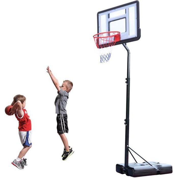 Panier de Basket sur Pied Hauteur Réglable de 2.1m-2.6m avec Roulettes pour Extérieur Noir Blanc