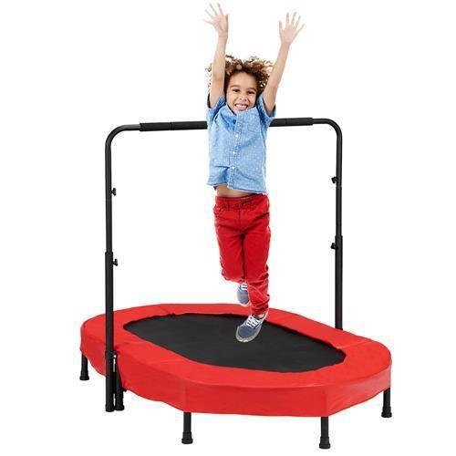 Trampoline Ovale 142*92*128cm pour l'exercice Aérobie à la Maison ou extérieur Maximale 100 Kg Noir et Rouge