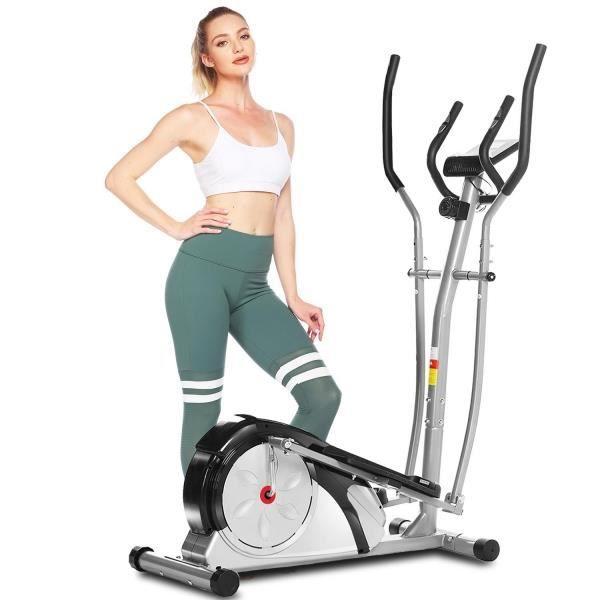 Vélo d'appartement entraîneur elliptique muet de contrôle magnétique de 8 niveaux avec volant moteur 6 kg LCD charge 120kg Gris