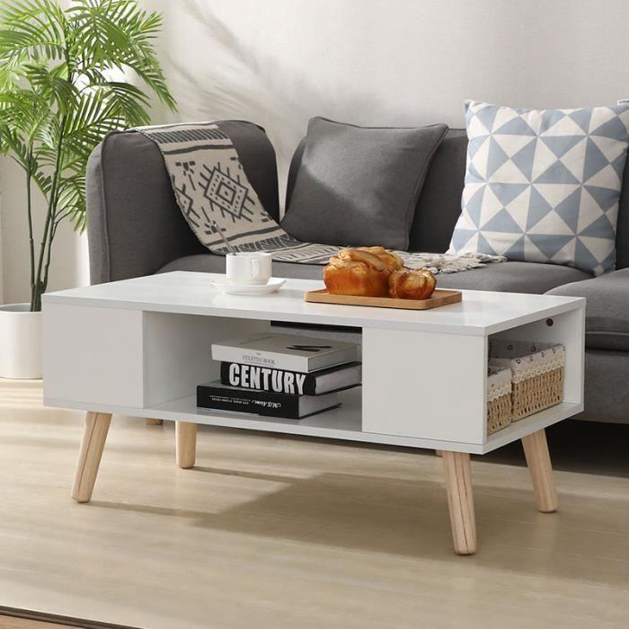 90*45*39cm - Blanc - Table basse & Meuble TV de rangement - style scandinave