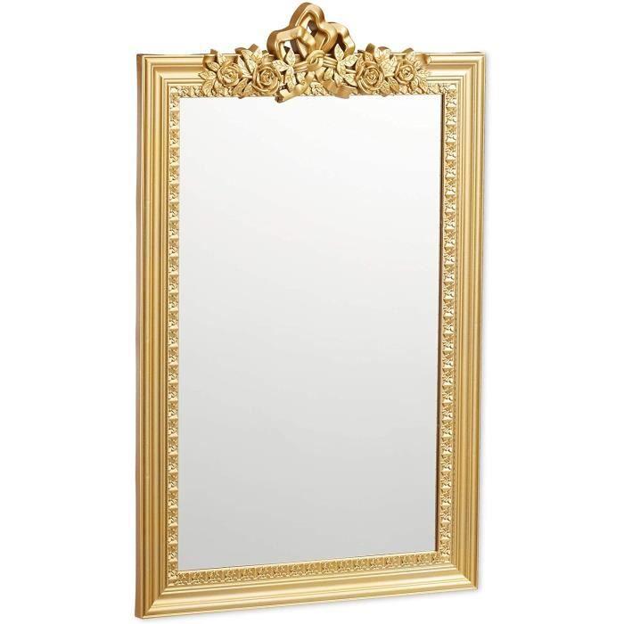 Relaxdays 10025535_259 Baroque, Miroir rectangulaire à accrocher, Design Antique, Couloir, Salle de Bain, doré, PP, Verre, Carton, O