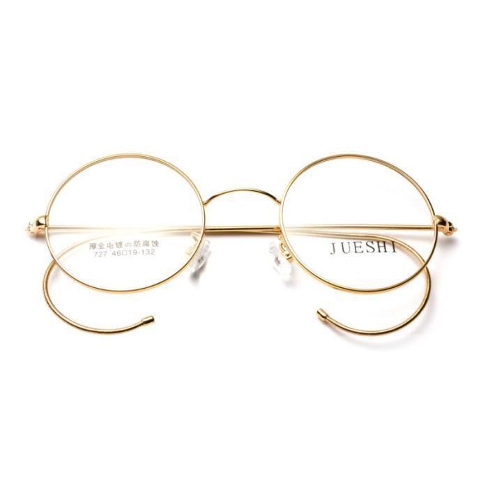 Amillet 44mm Monture de lunettes de vue homme femme les jeunes filles garçons rétro classique en vogue rond or