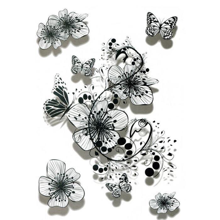 Tatouage faux fleur - Léger papillon