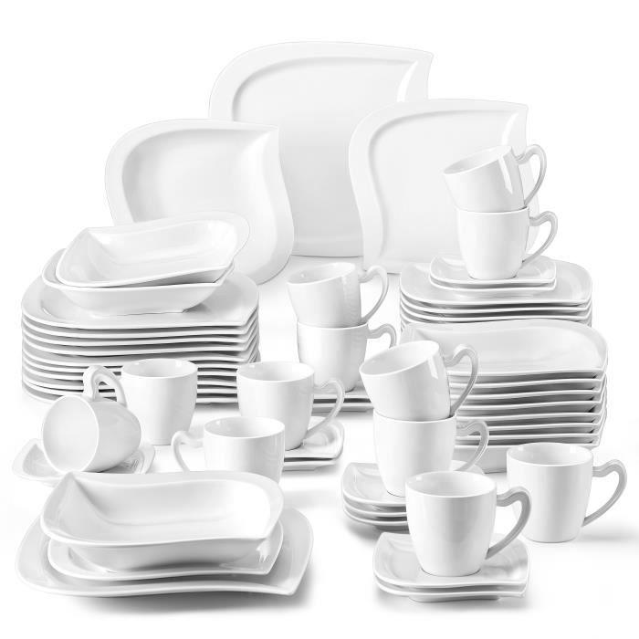 Malacasa Elvira Porcelaine 60pcs Service de Table 12 Tasses à Café 12 Sous-tasse 12 Assiette à Dessert 12 Creuses 12 Plates