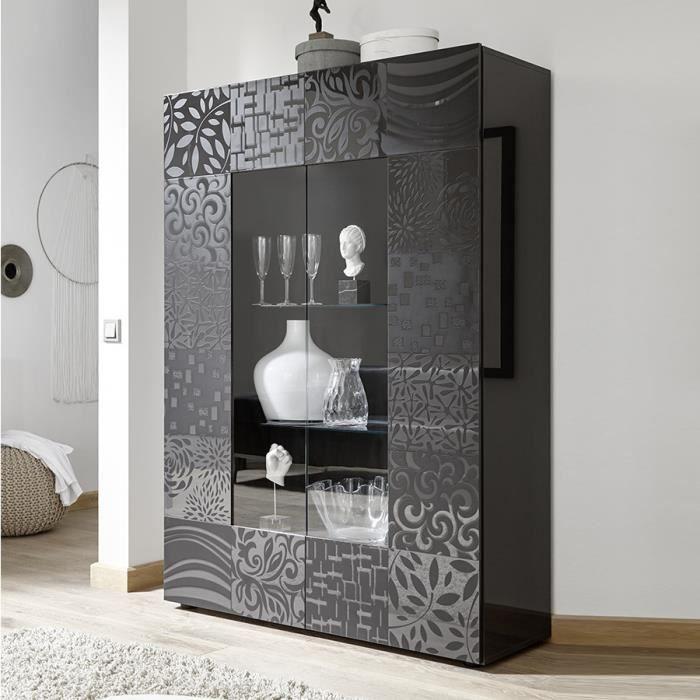Vaisselier design gris laqué 120x170 cm ELMA 2 sans éclairage Gris