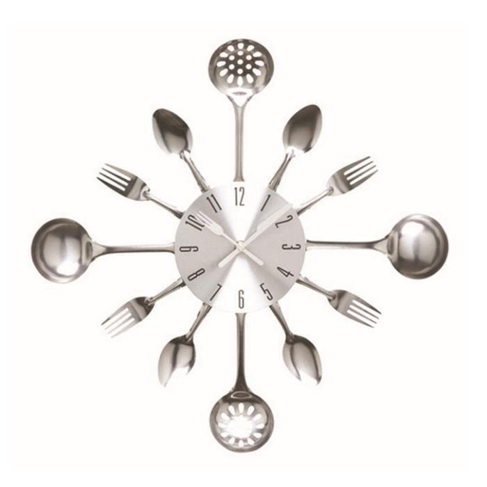 HT Horloge Murale Couverts En Métal Nouvelle Gamme De Couleurs Elégantes Pour Cuisine De Maison Bureau-Argent - HTPRM824A0713