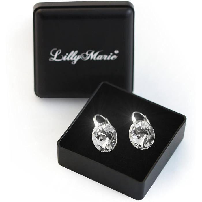 LillyMarie Femme Boucles D'oreilles Argent Sterling 925 Transparent Swarovski Elements Originaux Rond Pochette à Bijoux Cadeau[788]