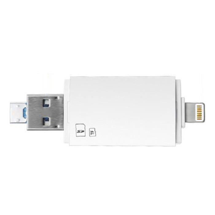 BH Usb3.0 3 en 1 Lecteur Flash pour Lecteur de Carte Sd Usb, Memoire Tf Carte Visionneuse Adaptateur (Blanc) - BHTS823A4203