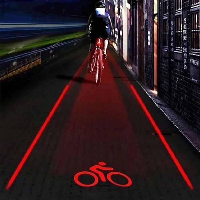 2 laser + 5 LED clignotant arrière vélo vélo feu arrière lampe faisceau faisceau avertissement de sécurité