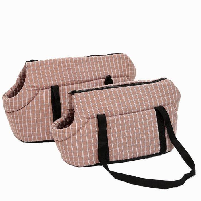 Sac de transport,Venxuis doux sacs à bandoulière pour chien de compagnie protégé sac à dos de - Type Brown Plaid-40X25X28 CM
