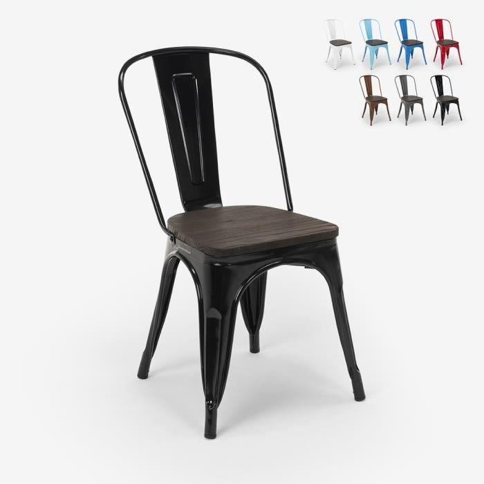 Chaises industrielles en bois et acier Tolix pour cuisine et bar STEEL WOOD - couleur:Noir