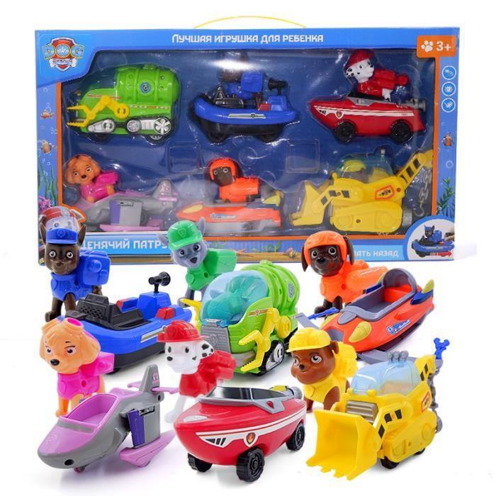 12 pcs / lot patrouille chiot chien tirer sauvetage voiture personnage de dessin animé scène jouet figurine enfants cadeau de noël