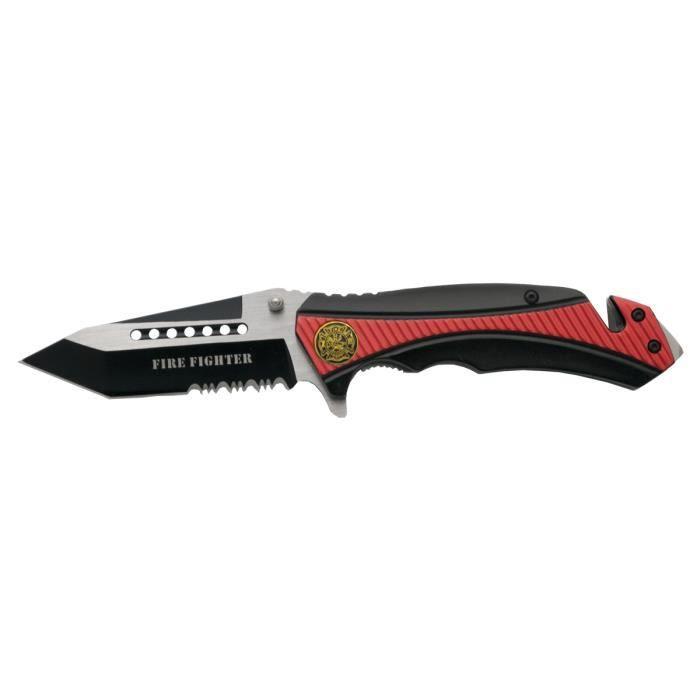 Couteau de sécurité avec étui en nylon, emblème pompier emblème Fire Fighter, 140 grammes de poids, 3ème couteau de sécurité