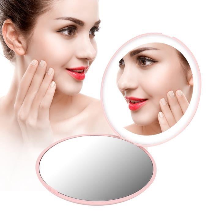 Outil cosmétique de miroir de maquillage pliable portable à grossissement 10X Mini 12 LED (rose)