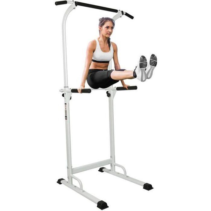 YIS Station de Traction en Acier - Pull Up Fitness - Réglable en hauteur / Charge maximale 150kg / Blanc et Noir
