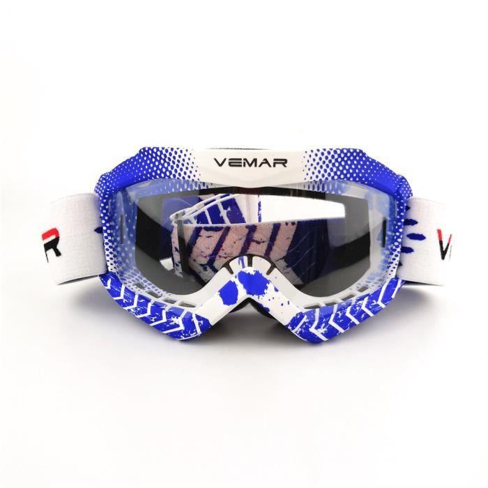 Lunettes de protection,Lunettes de moto 6 couleurs pour enfants, verre de protection pour les yeux, coupe vent, Dirt - Type Blue