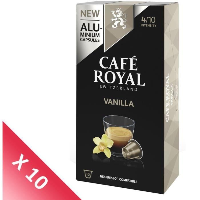 Lot de 10 CAFE ROYAL compatible Nespresso Alu Vanille x10