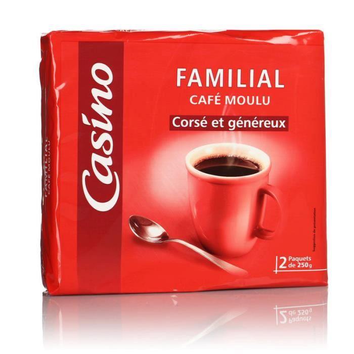Lot de 2 paquets de café moulu Familial corsé et généreux - 500 g