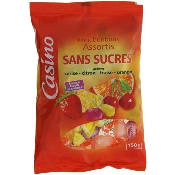 Mini bonbons assortis, sans sucres, arômes fruits - 150 g
