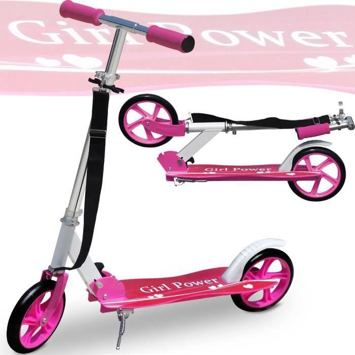 Trottinette pliable rose design -GIRL POWER- roues XXL avec sangle incluse