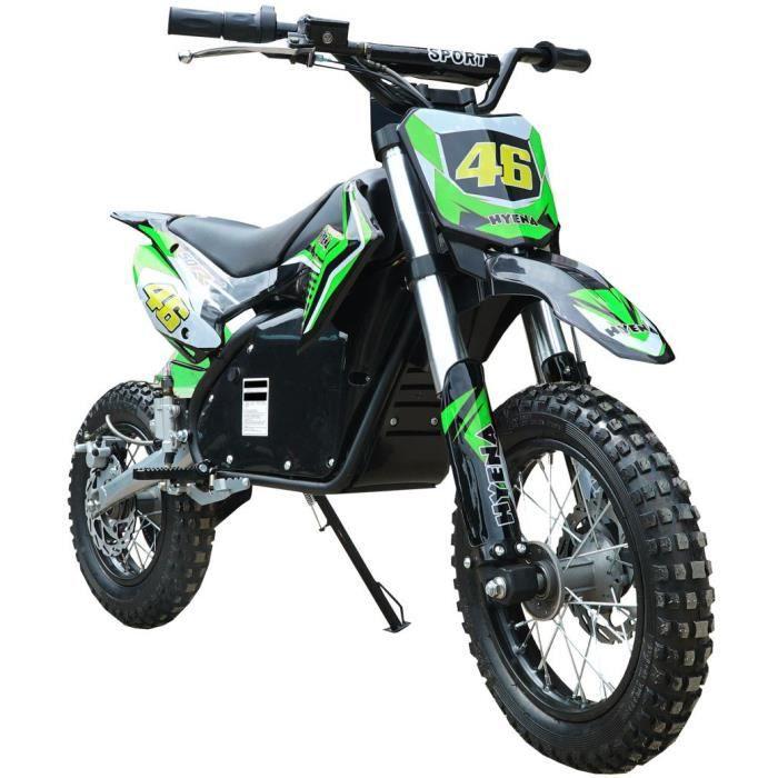 Moto cross electrique Vert 1200W 48V 15Ah batterie lithium