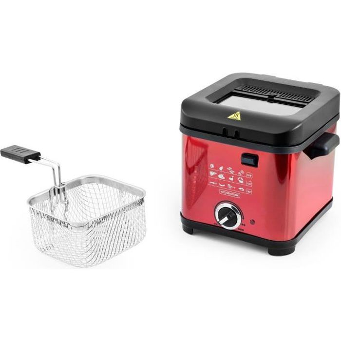 KITCHENCOOK - FR1010_RED - Friteuse - 900W - 1,5L - Rouge