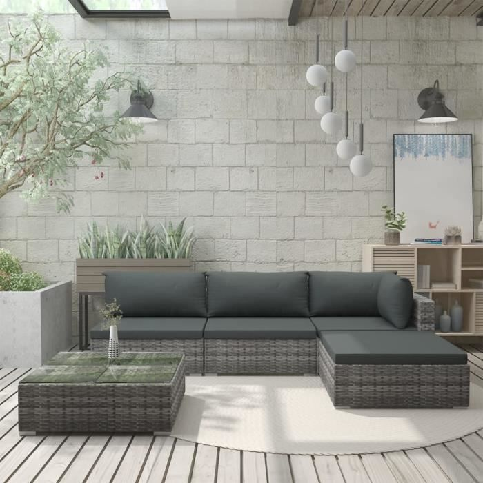 Mobilier de Jardin 5 pcs avec Coussins Salon de Jardin Meuble d'Extérieur Mobilier de Terrasse Mobilier de Patio Résine Tressée Gris