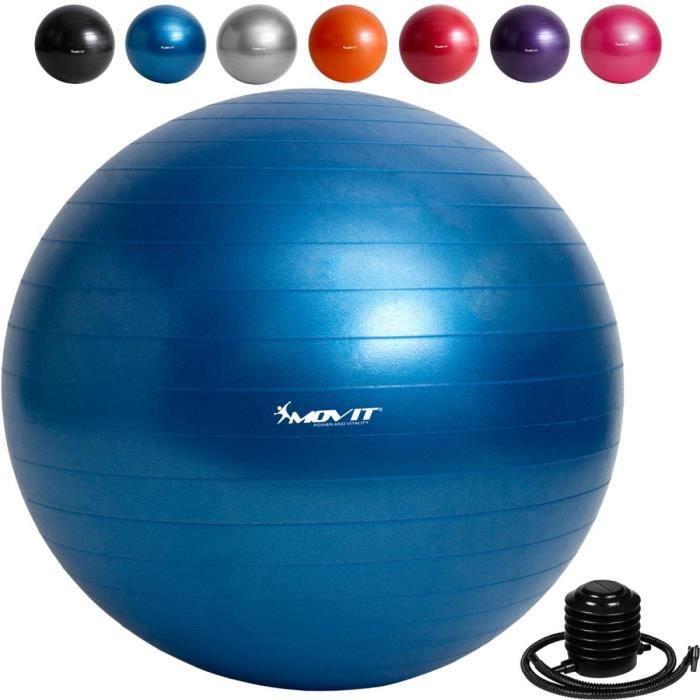 MOVIT Balle de gymnastique bleu, 85 cm avec pompe