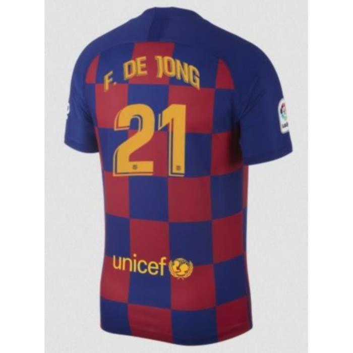 Nouveau Maillot Nike Homme FC Barcelone Domicile Flocage Officiel De Jong Numéro 21 Saison 2019-2020