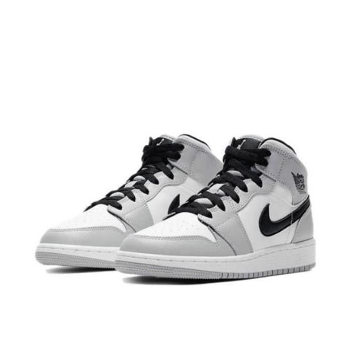 Air Jordan 1 Mid -Light Smoke Grey- Chaussures de Sport Basket AJ 1 Pas Cher pour Homme Femme Gris