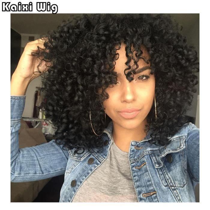 18 -Afro Crépus Bouclés Perruques Courtes Synthétiques Perruques Pour Les Femmes