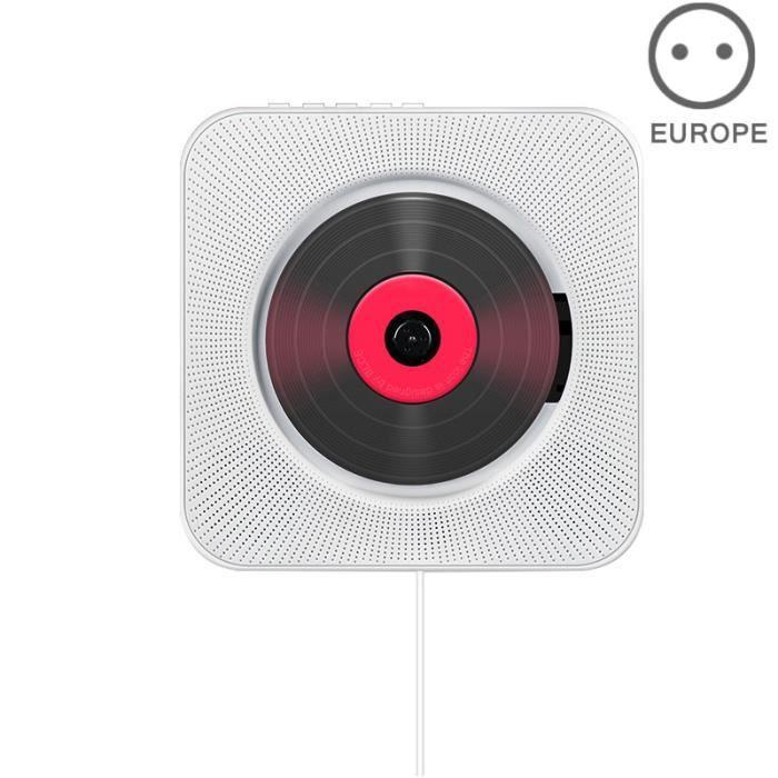 CD Lecteur Mural Montable Bluetooth Lecteur de Musique Stéréo avec Télécommande USB Hi-Fi Innovant Audio FM Radio Portable -Blanc