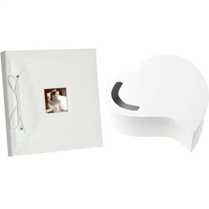 1 Pack Urne mariage coeur et livre d'or photo blanc R/3841-2909