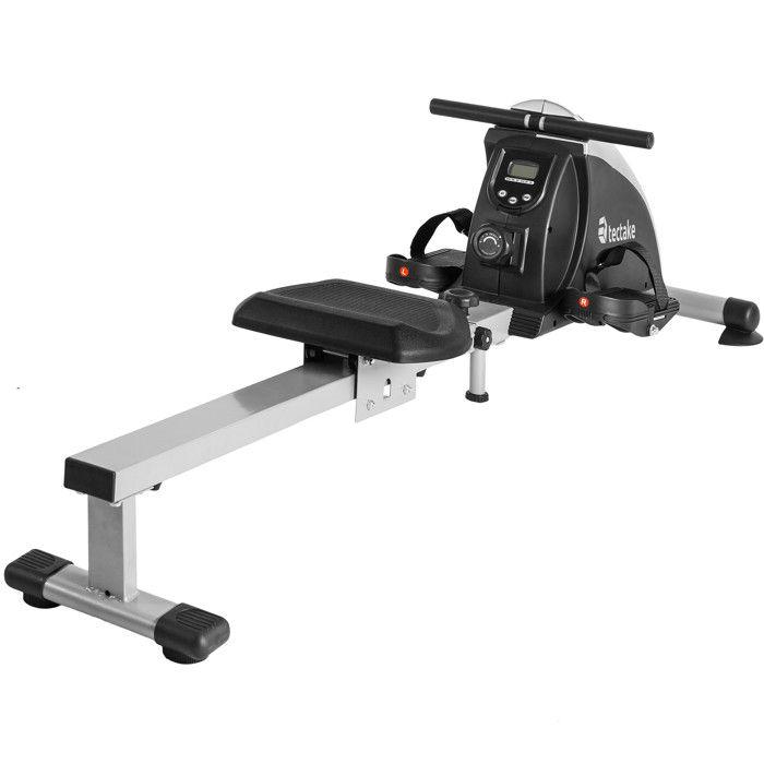 TECTAKE Rameur d'appartement avec ordinateur écran LCD, Appareil de Fitness et Musculation Cardio Training