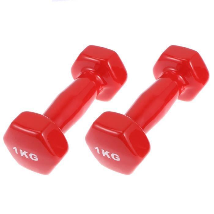 1 paire d'haltères hexagonaux antidérapants en plastique, poids à main, équipement de fitness en BARRE - HALTERE - POIDS