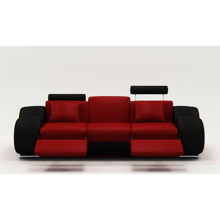 canap design 3 places cuir rouge et noir t ti res relax. Black Bedroom Furniture Sets. Home Design Ideas