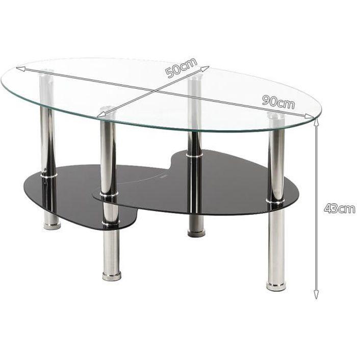 90 X 50 X 43 Cm Table Basse En Verre Trempe Table De Salon Barcelone Transparente Et Noir Achat Vente Table Basse 90 X 50 X 43 Cm Table Basse Cdiscount