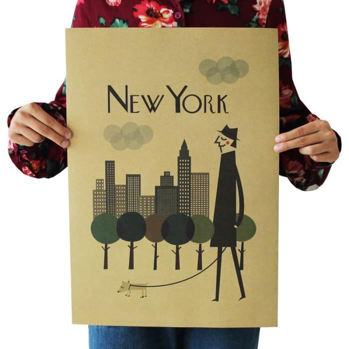 Affiche de mur en papier kraft d coration murale new york for Deco murale new york
