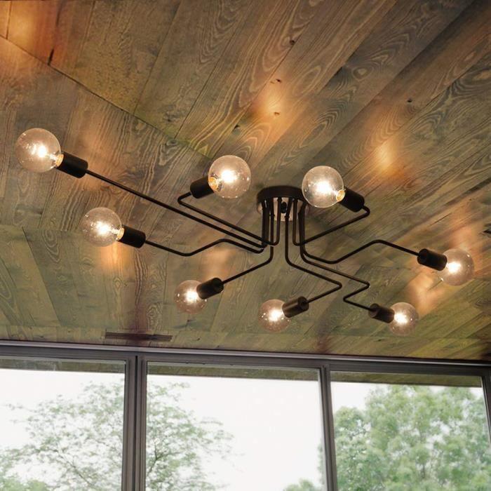 Vintage Plafonnier Salon Chambre Spot Barre Pivotant Projecteur Lampe Bois