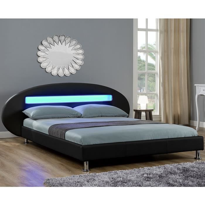 lit similicuir noir led matelas 180x200 cm achat vente lit complet lit similicuir noir led. Black Bedroom Furniture Sets. Home Design Ideas
