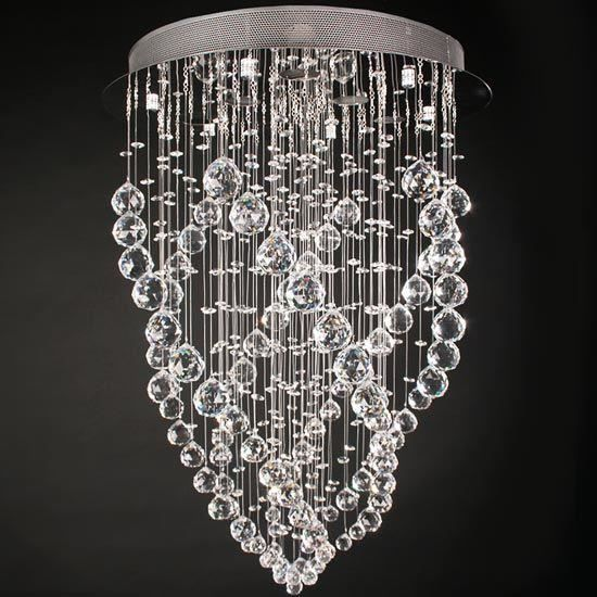 lustre plafonnier cristal 70cm x 50cm achat vente lustre plafonnier cristal 7 cristal acier. Black Bedroom Furniture Sets. Home Design Ideas