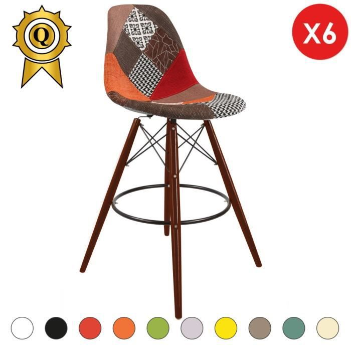 6 X Chaise Haute Bar Tabouret Scandinave Bois Vernis Noyer Patchwork Automne Inspiration DSW Eames MobistylR