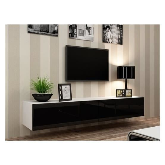 meuble tv design suspendu vito 180 blanc et noir achat. Black Bedroom Furniture Sets. Home Design Ideas