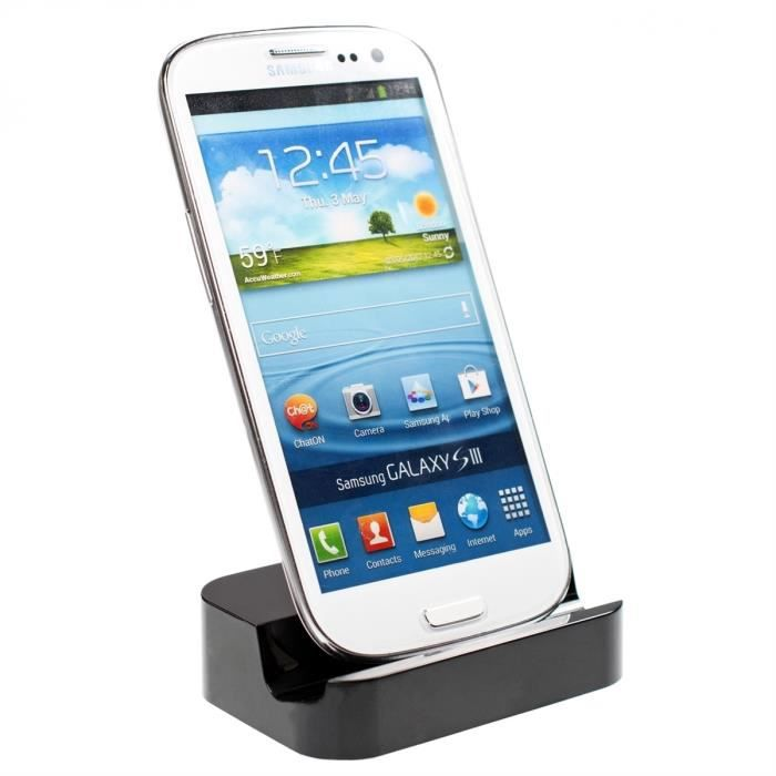 kwmobile station d 39 accueil micro usb pour samsung galaxy s3 i9300 s3 neo i9301 noir design. Black Bedroom Furniture Sets. Home Design Ideas