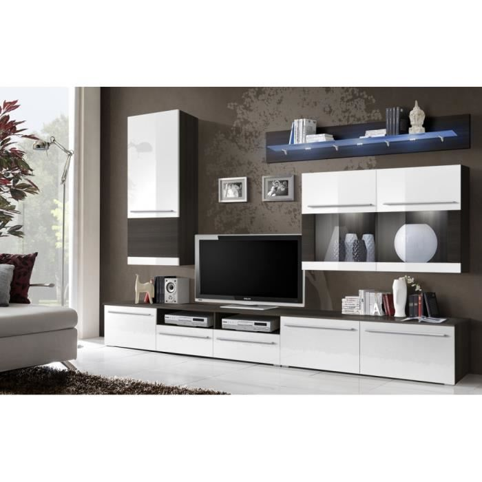 attractive ecran plat tv pas cher 6 meuble tele mural maloi blanc noir. Black Bedroom Furniture Sets. Home Design Ideas