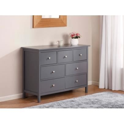 commode albane 7 tiroirs pin gris achat vente commode de chambre commode albane 7. Black Bedroom Furniture Sets. Home Design Ideas
