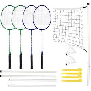 Ensemble de Badminton avec Raquettes de Badminton en Filet avec Deux Volants Kit de Badminton Complet P/ôle de Filet pour Jeu de Plage darri/ère-Cour
