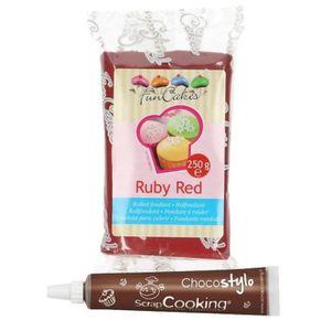 PATE A SUCRE Pâte à sucre 250 g Rouge grenat + Stylo chocolat