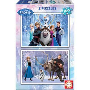 PUZZLE EDUCA - Puzzle - 2x100 LA REINE DES NEIGES